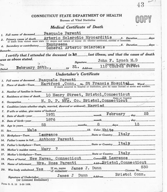 Deaths 1931 Pasquale Parenti Certificate Of Death From Hartford Ct
