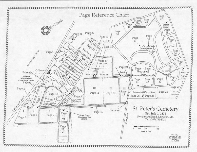 Headstones Cemetery map of St Peters Cemetery in Lewiston ME