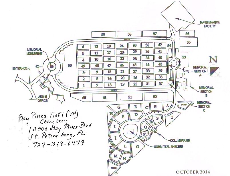Map Of St Petersburg Florida.Headstones Map Of Cemetery Sections For Bay Pines National Cemetery